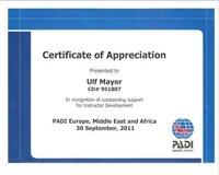 Award for PADI CD Ulf Mayer