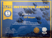 Elite Instructor Award für PADI CD Ulf Mayer