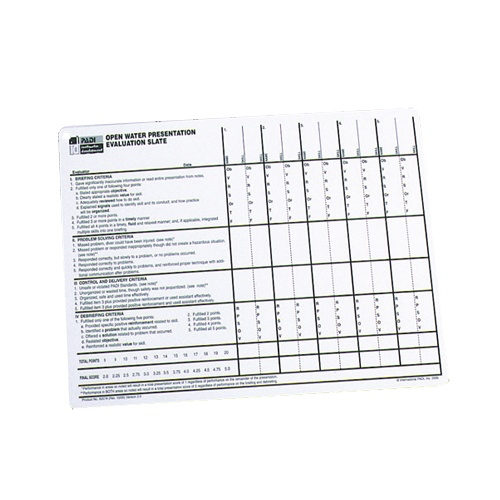 PADI Open Water Teaching evaluation chart