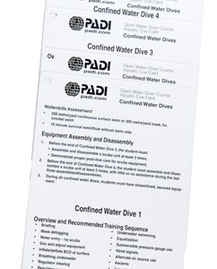 PADI Open Water Diver Cue Cards Confined Water