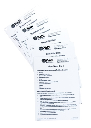 PADI Open Water Diver Cue Cards Open Water